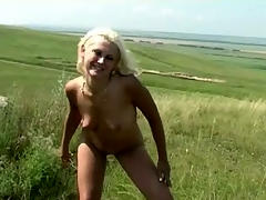Cute teen essential and peeing outdoors