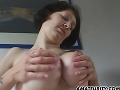 Amateur girlfriend connected with big tits sucks and fucks