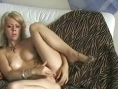 Blue blonde amateur toys her wet vagina