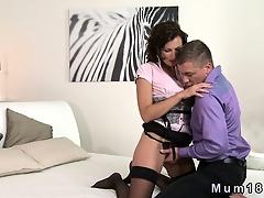 Sexy brunette MILF in lingerie fucking