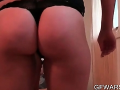 POV blonde amateur battle-axe fellating dick and humping well-found