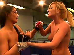 Sexy naughty boxing babes attempt a good time painless they play with body and touch cunts