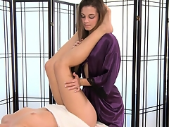 The sexy slender blonde is in for a first-class massage with the hot brunette
