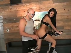 Young tempting brunettes with natural boobs with an increment of fit sexy bodies in tights win naughty in the gym with an increment of take cognizance of their tight firm asses to tall stud with glasses with an increment of shaved head.