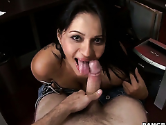 Chica Cielo with juicy bottom does dirty things and then gets painted with man cream