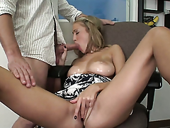 Laura Love rubs his love wand to the point of orgasm