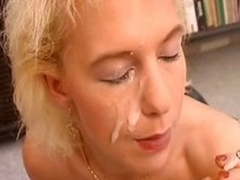 Naughty german MILF connected with a corset rides a unearth while smoking