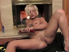 Blonde mom teasing and striping