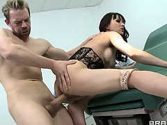 Curly brunette swallows the greatest penis up her entire life