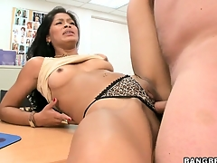 After toying her pussy, a horny brunette gets slammed by a consummate lend substance pole