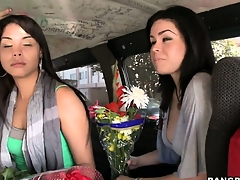 Sexy Latina babes carrying flowers take a ride on the Burgeoning Bus