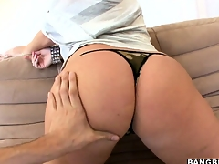 Big tit brunette Sophie Dee getting undressed with the addition of equally pussy
