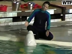 Sweet young dolphin trainer girl Natasha got hotly discomposed and seduced for naughty fuck right at her work place be her workmate dude.