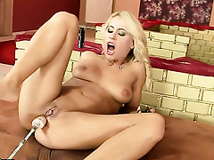Blonde Nikky Thorne gives a closeup view of her love box as she masturbates in all directions dildo