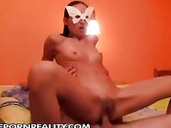 Teen gives herself some asshole stimulation with get under one's on the back burner of the brush toy