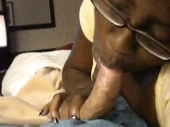 Scalding black cocksucker on white dick