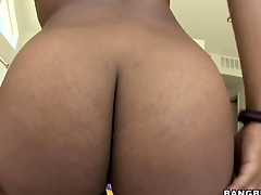 Megan Vaughn is a stunning ebony girl with bonny natural knockers and a heart-shaped ass