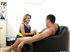 Ashley Coda has fire in her eyes as she gets her throat banged by her bang buddy