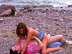 Young cock hungry amateur brunette bitch Cristal May with natural boobs and slim body in short denim skirt rides on her dirty boyfriend outdoor while hidden voyeur films them.