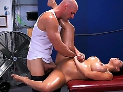 Pretty young brunette chick Diamond Kitty is mendacious on massage divan with an increment of getting her boobs oiled up with an increment of asshole cussed away by Johnny Sins.