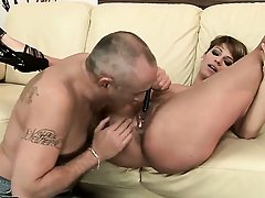 Brunette has dick-hungry vagina with an increment of takes guys hallow wand