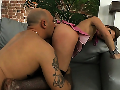 Suzanna Scott is one hot cock rider that loves anal sex with respect to Omar Galanti before cock sucking