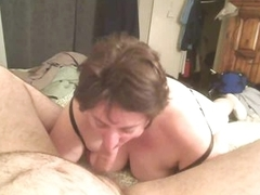 Fat girl sucks his cock hard