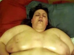 Huge fat chick pours oil on her diet