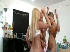 Chicks dance and attempt dorm room coition