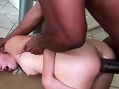 Petite pale brunette babe Natasha White back natural boobs and round firm bums gets tight pink honey pot fucked deep at the end of one's tether tall black bull back meaty cannon in doggy style position.