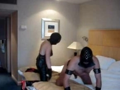 Strapon mistress fucks him down a hotel room